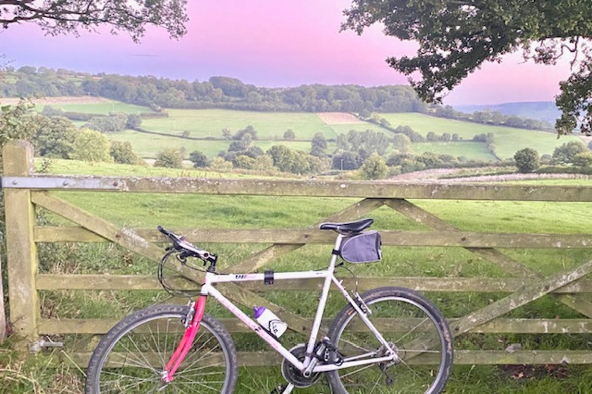 A bicycle propped up by a gate. A field and sunset is in the background