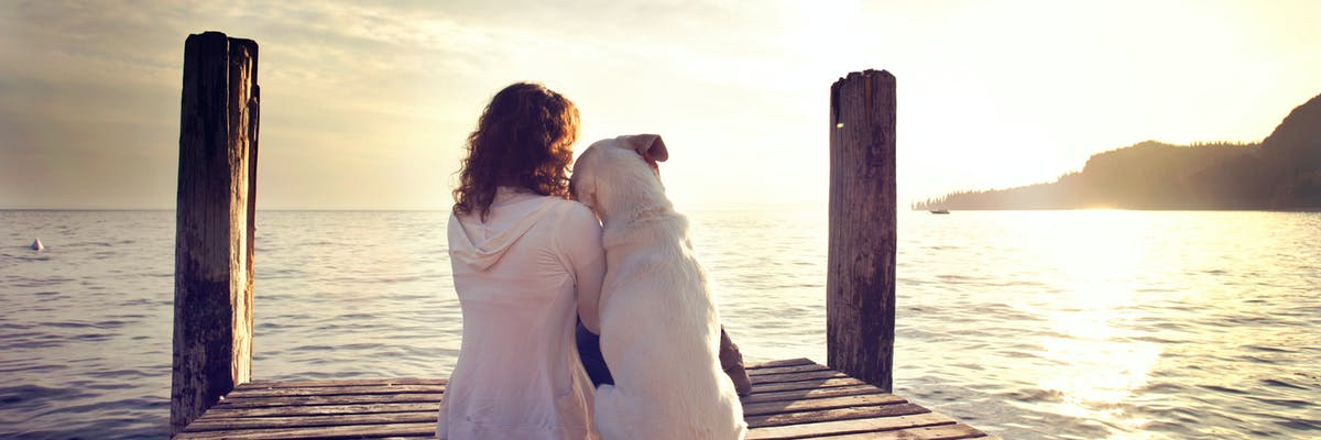 A woman and a dog sitting on a dock overlooking the ocean