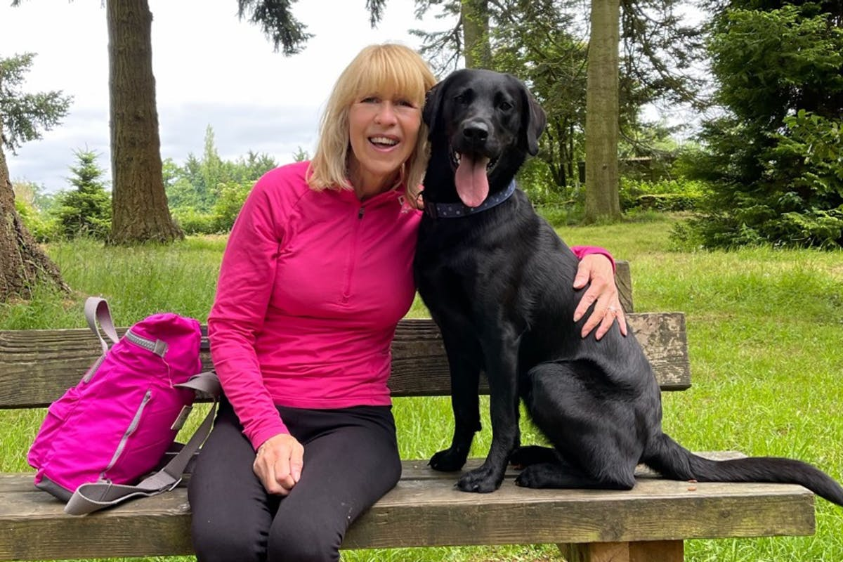 A woman sitting on a park bench with her arm around a black Labrador