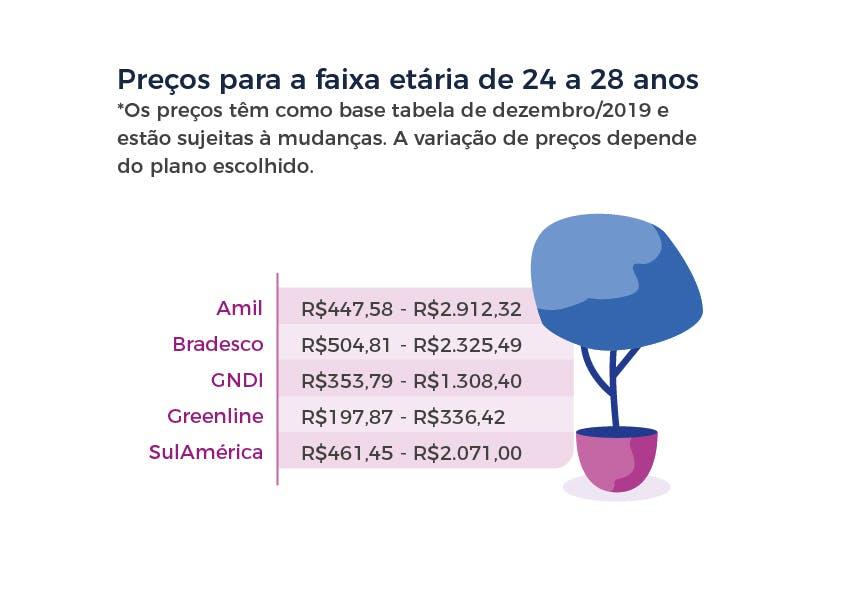 Preços para a faixa etária de 24 a 28 anos