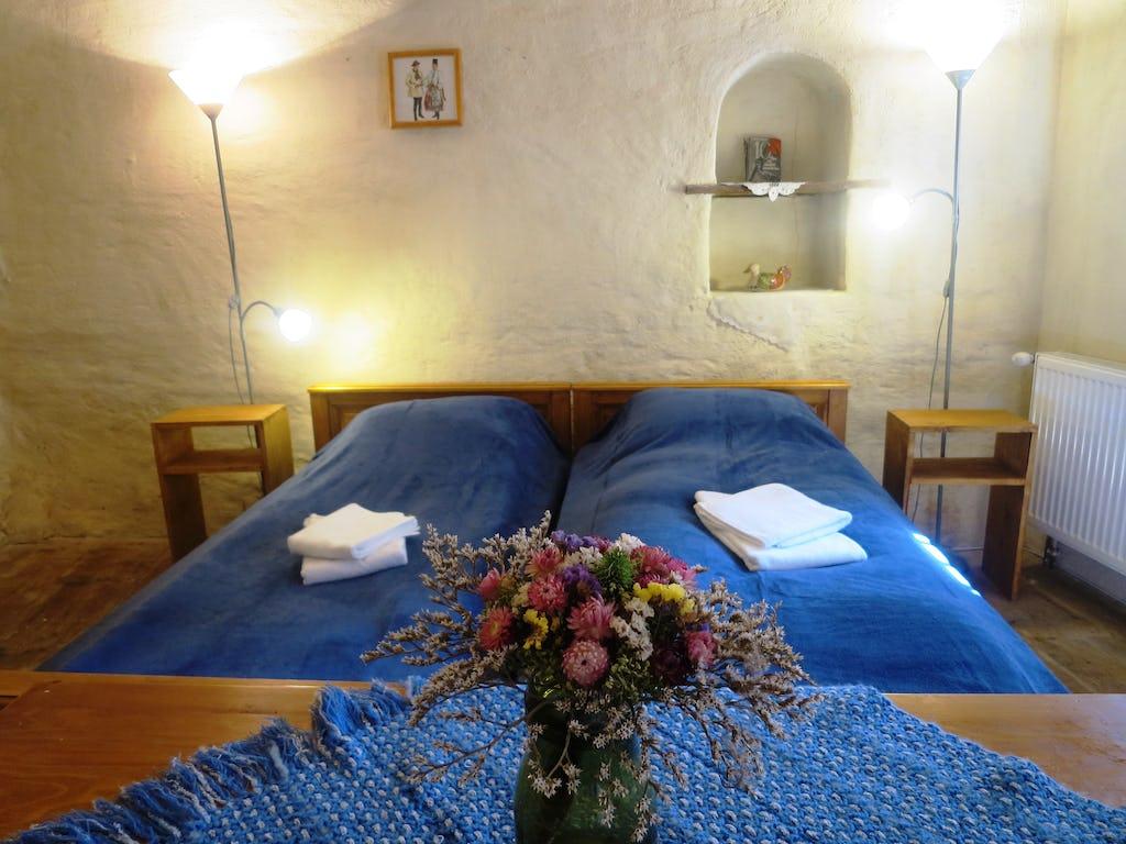 Floare pe masa și paturi în fundal