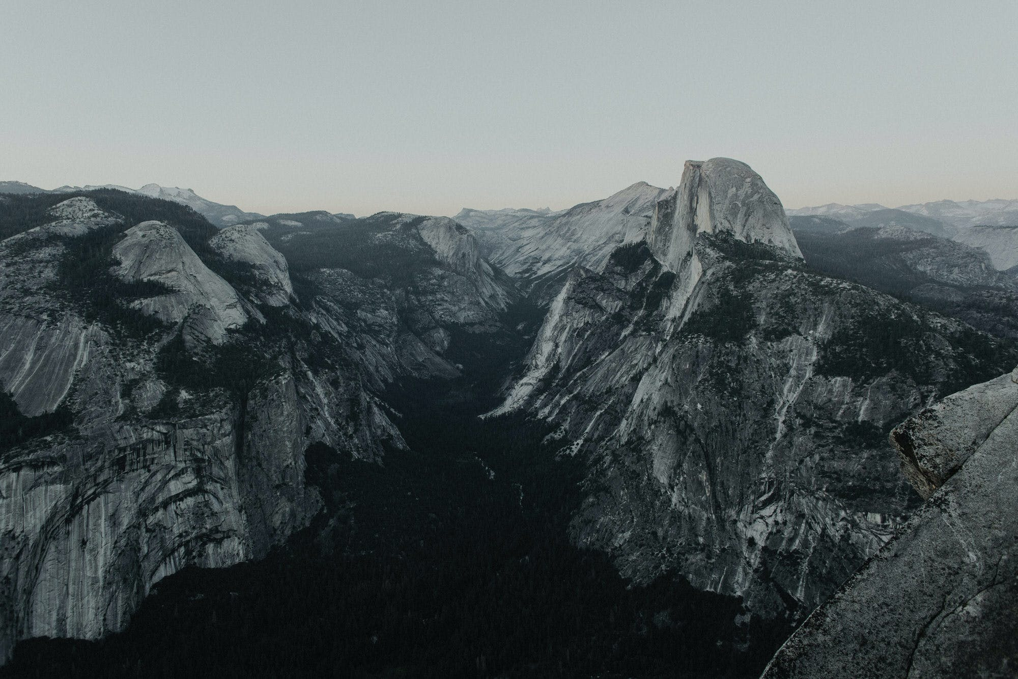 shot of half dome at dusk