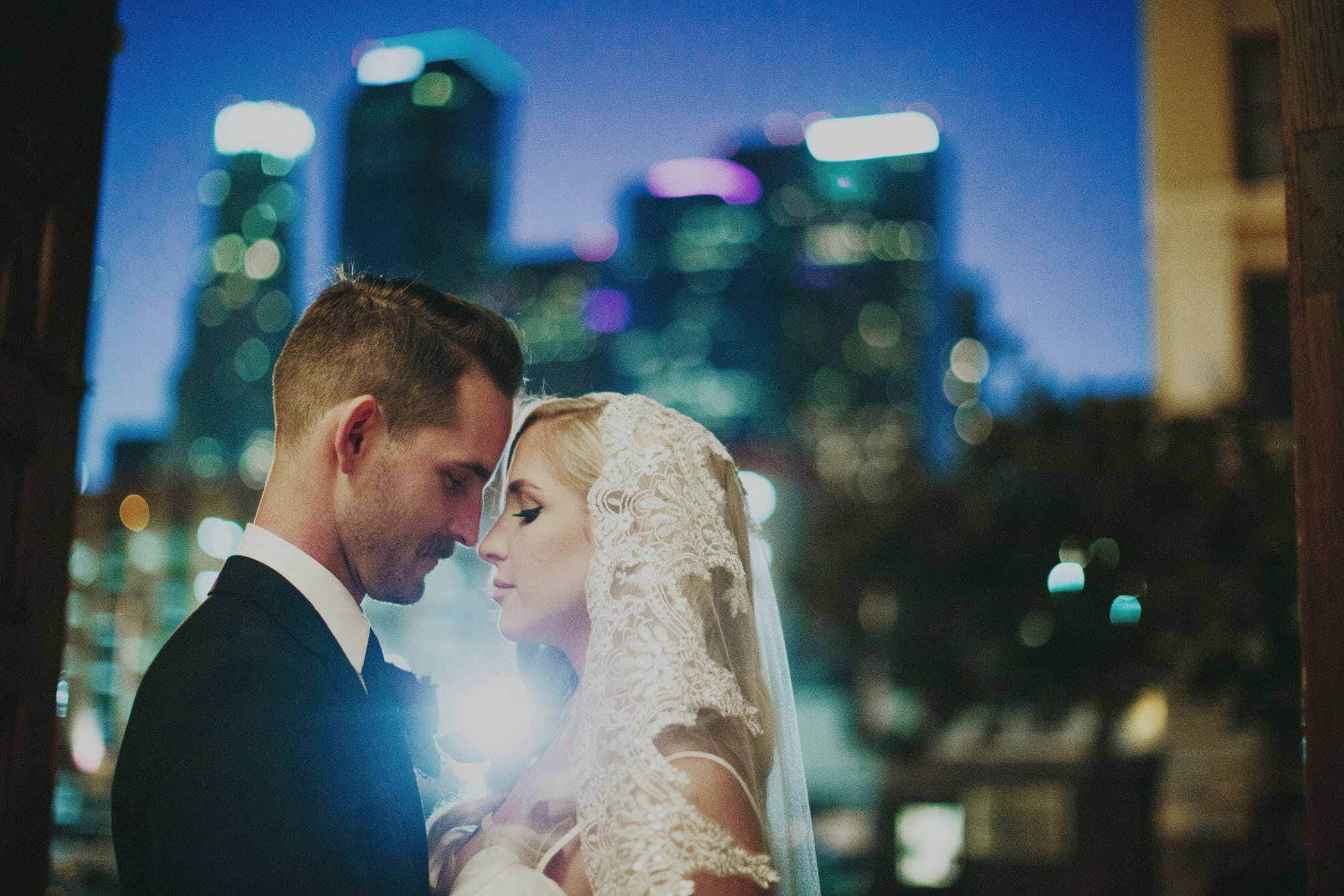 nighttime wedding portraits