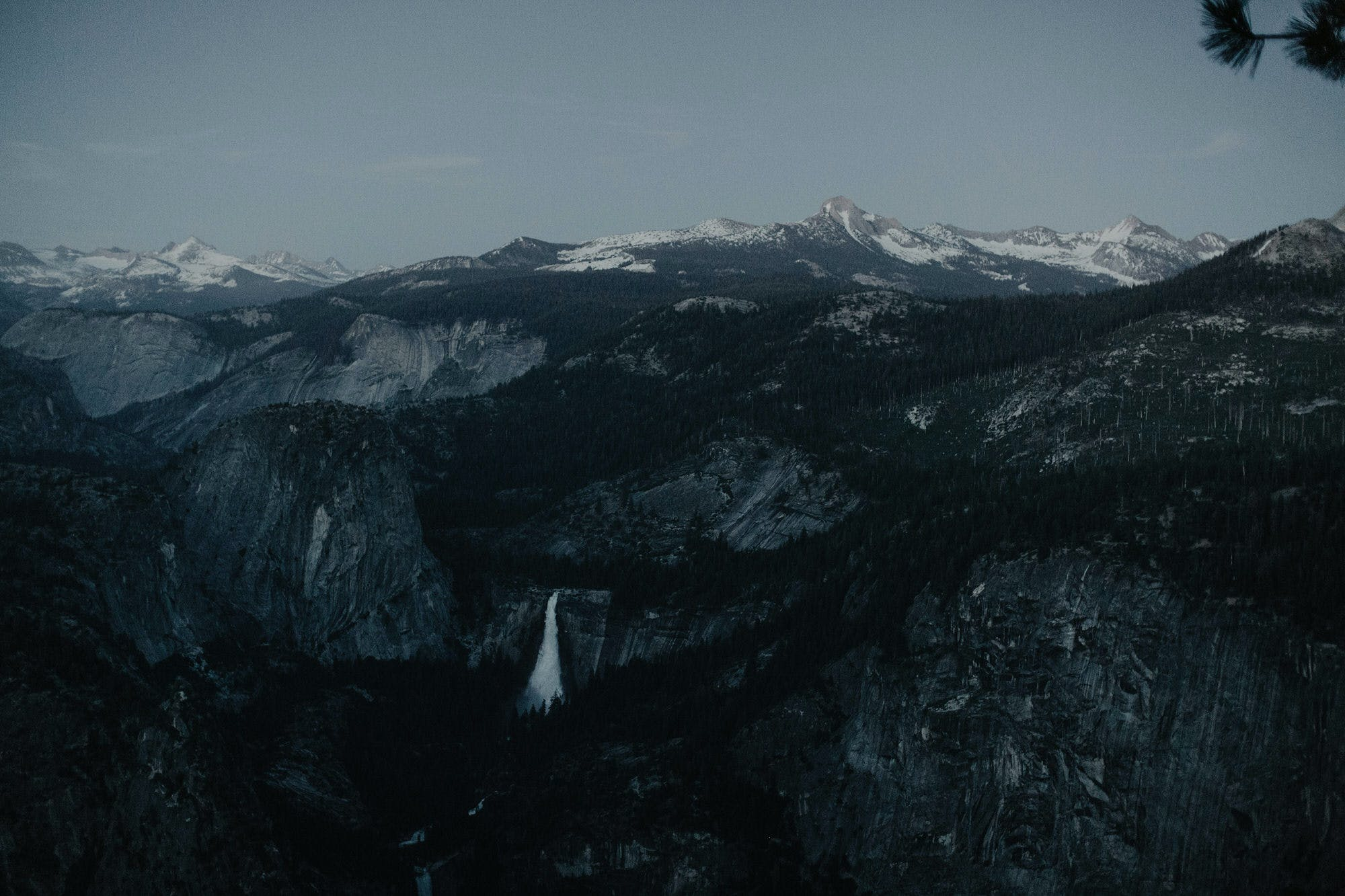 dusk waterfall picture of yosemite