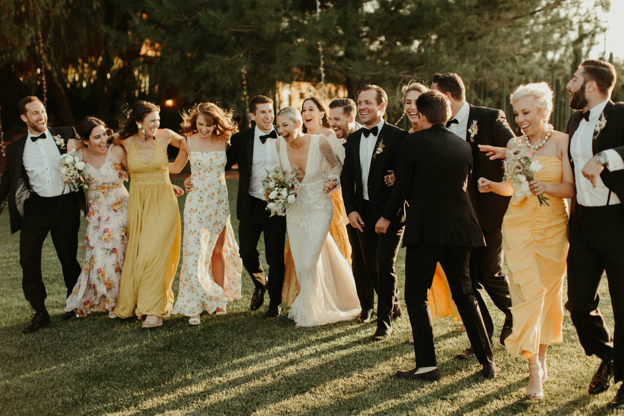 candid laughing bridal party photos