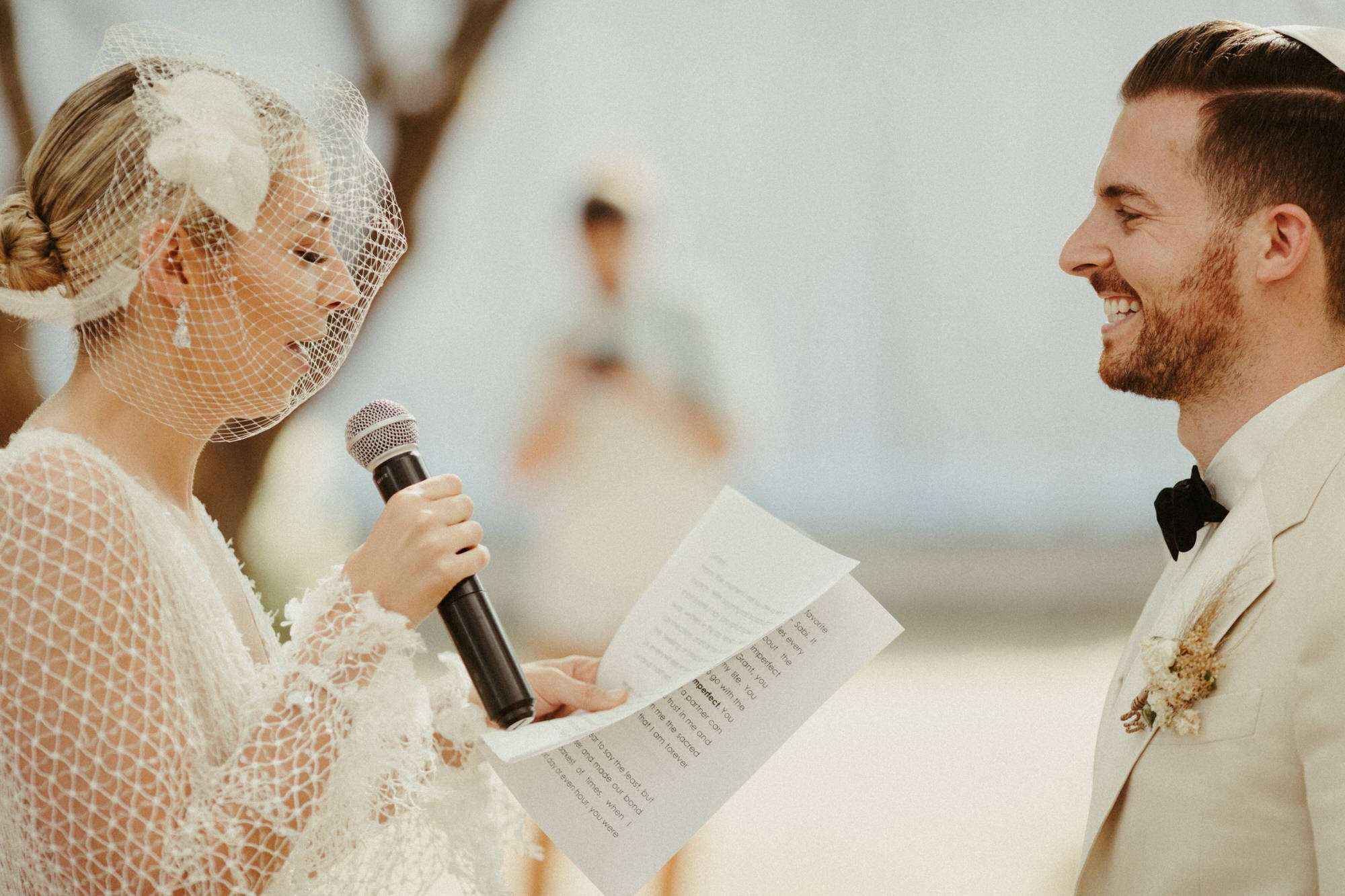 couples reading vows at jewish mexico weddinng