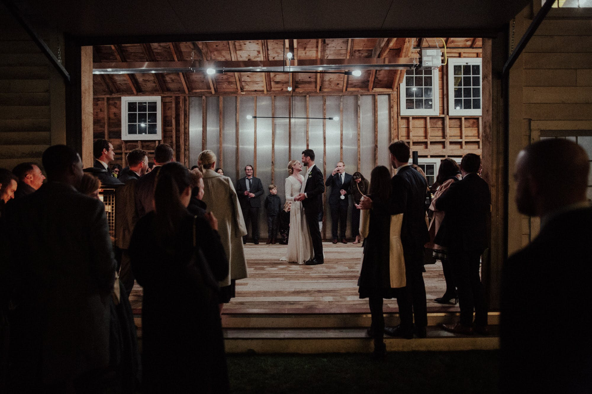 first dance in a barn at night