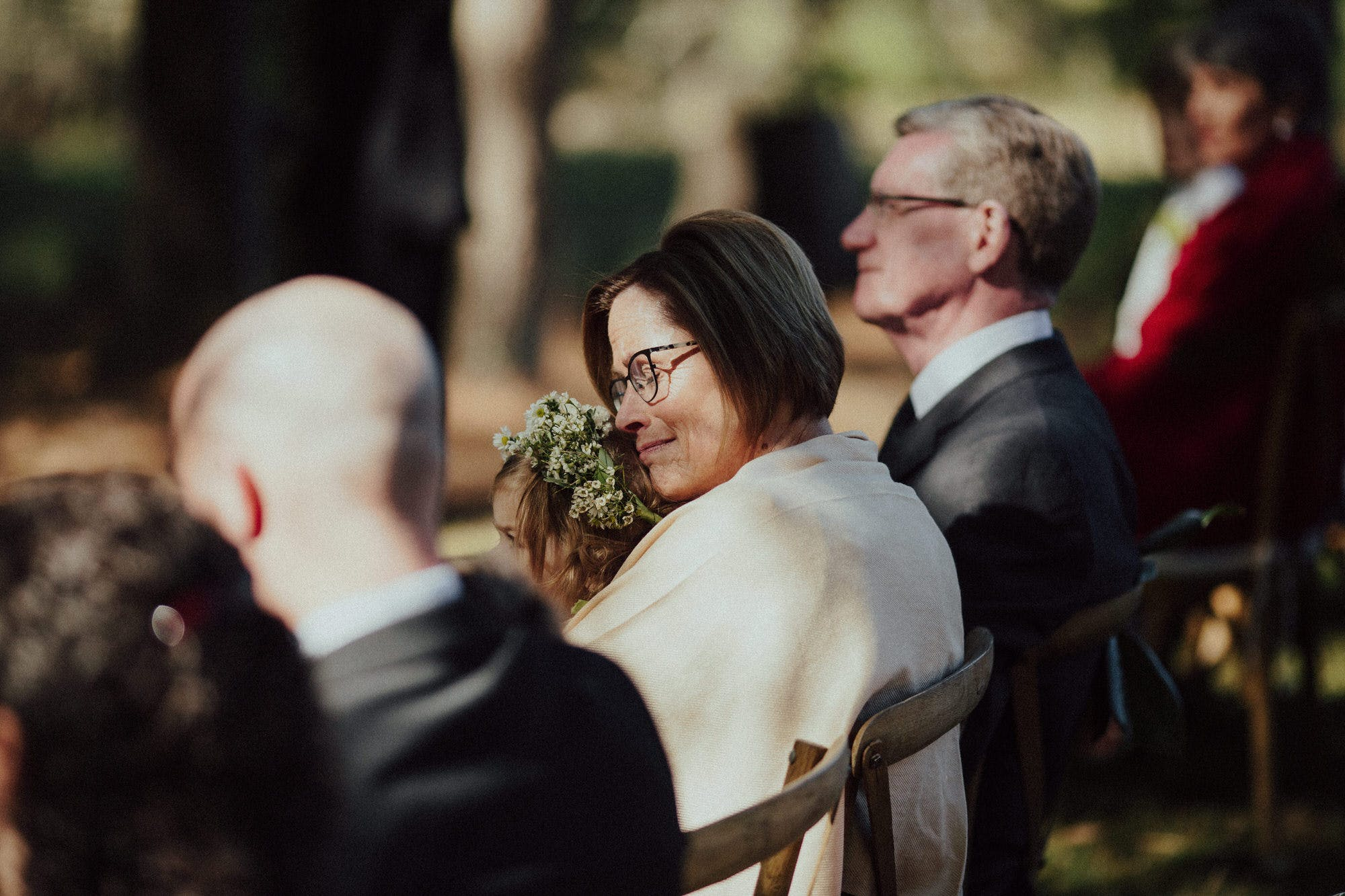 mother of bride emotional during ceremony