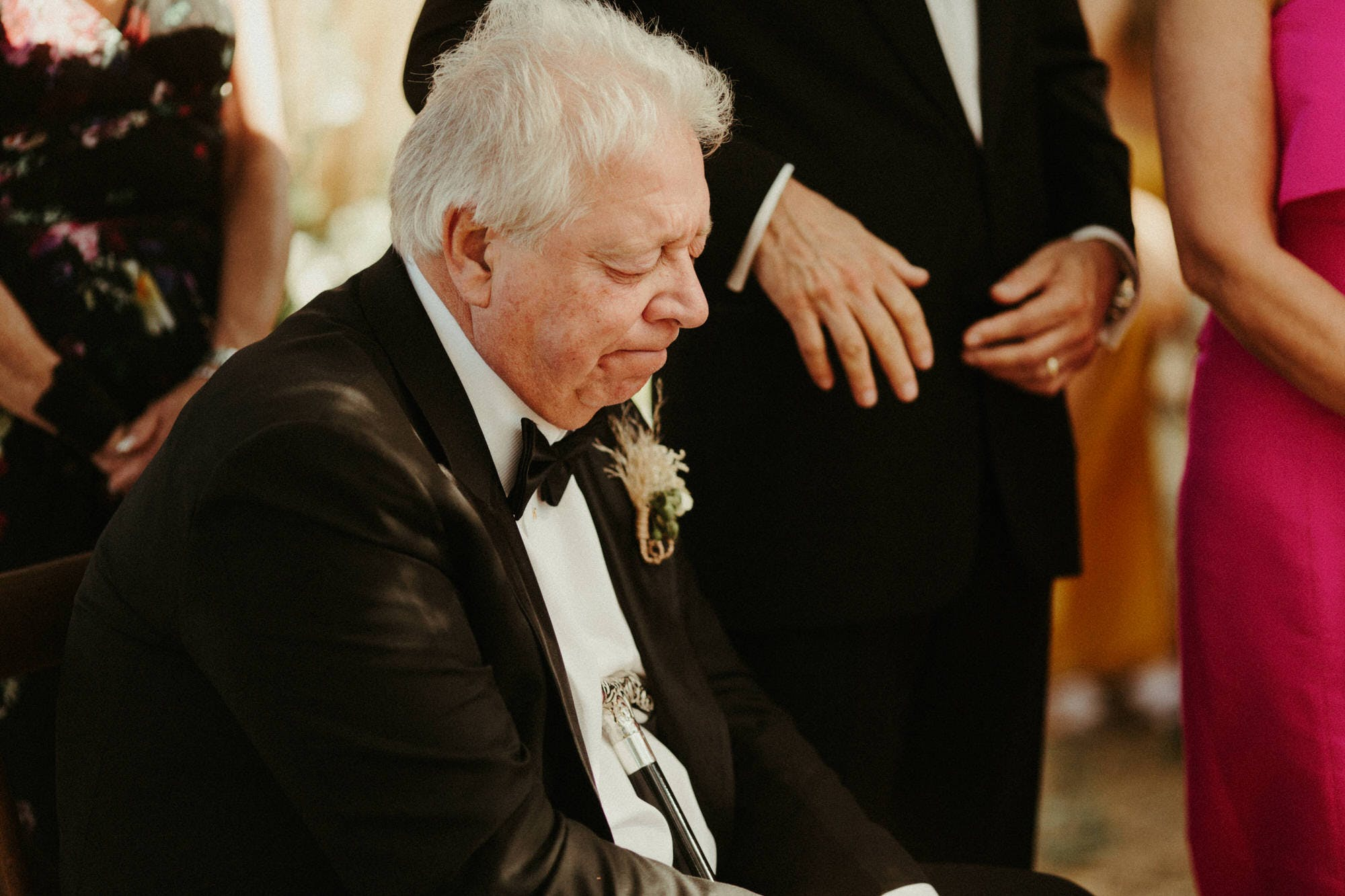 father of bride emotional at ceremony