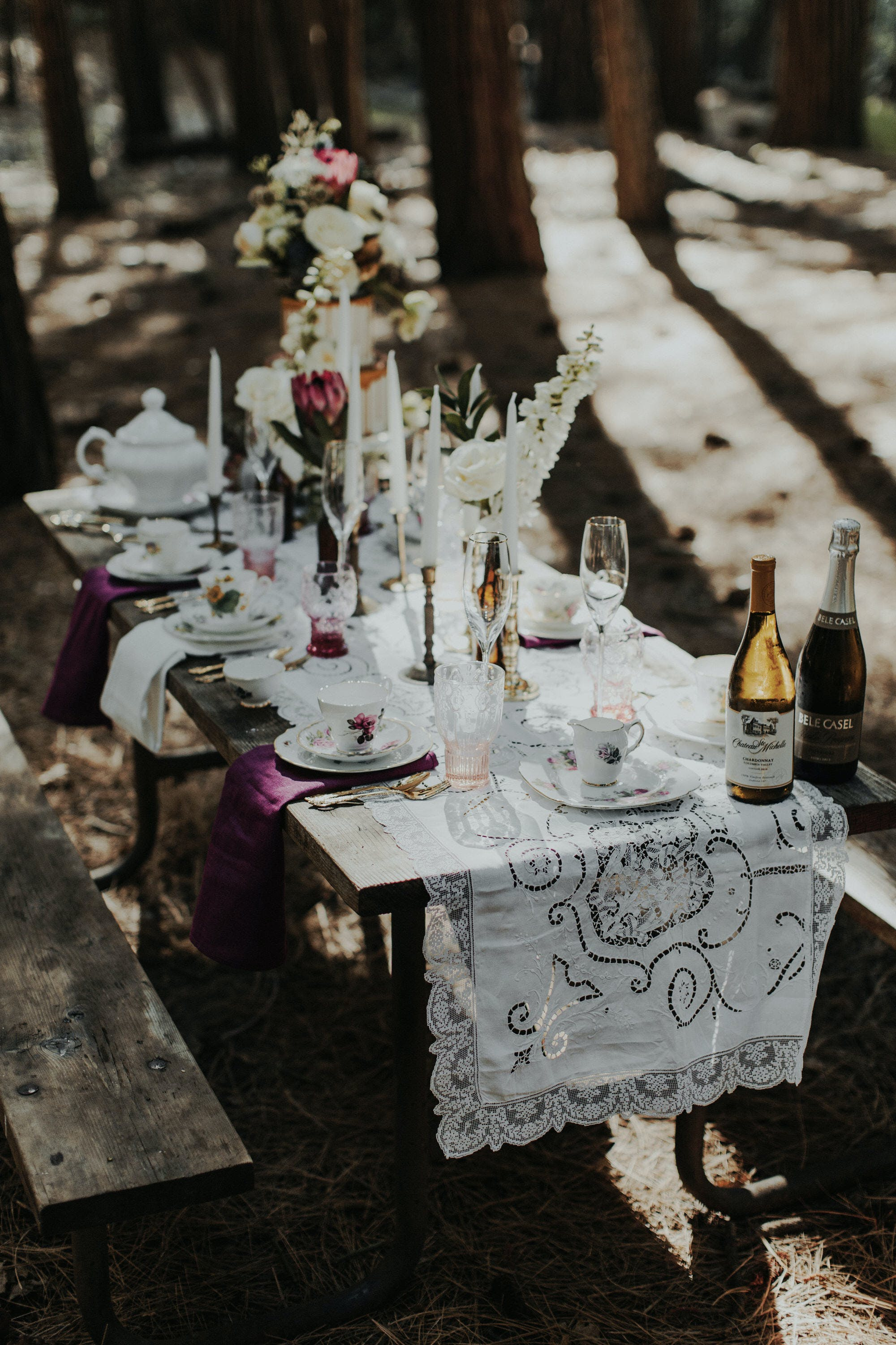 cute tablescape in the woods of yosemite
