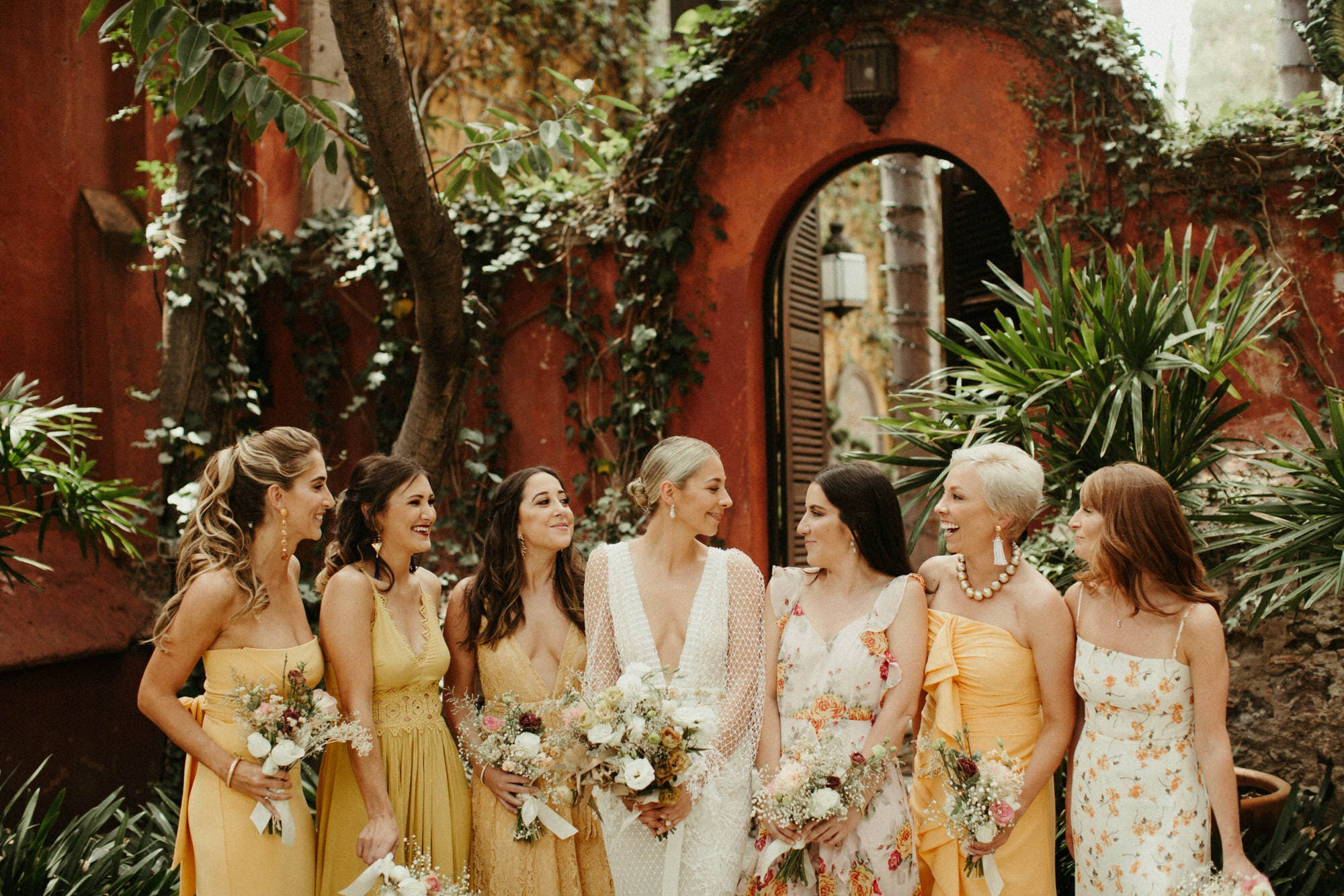 bridesmaids at casa hyder in san miguel