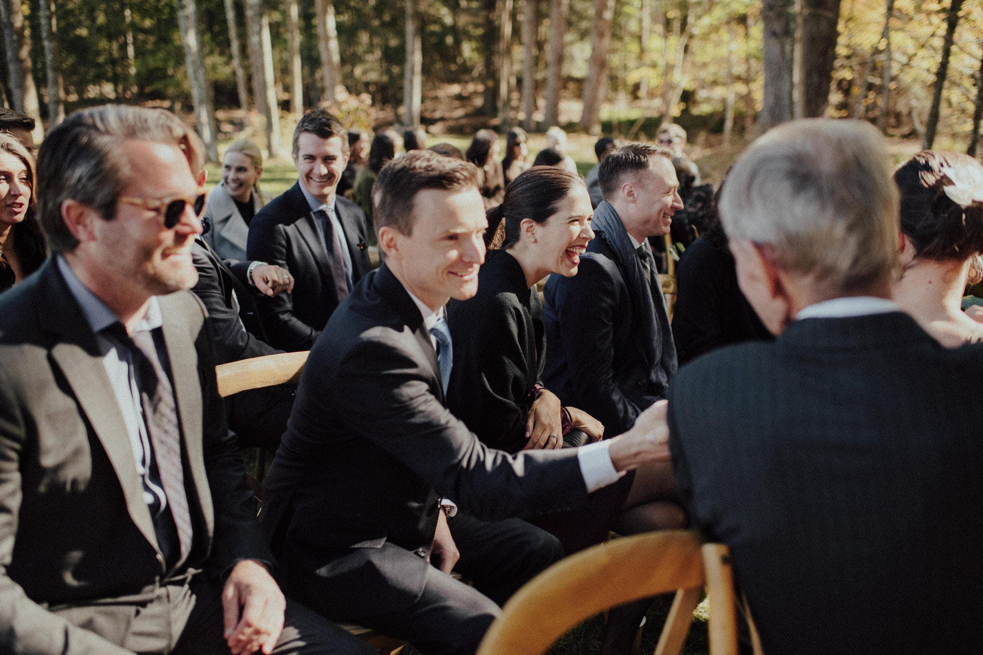 candid shots of guests at wedding in catskills