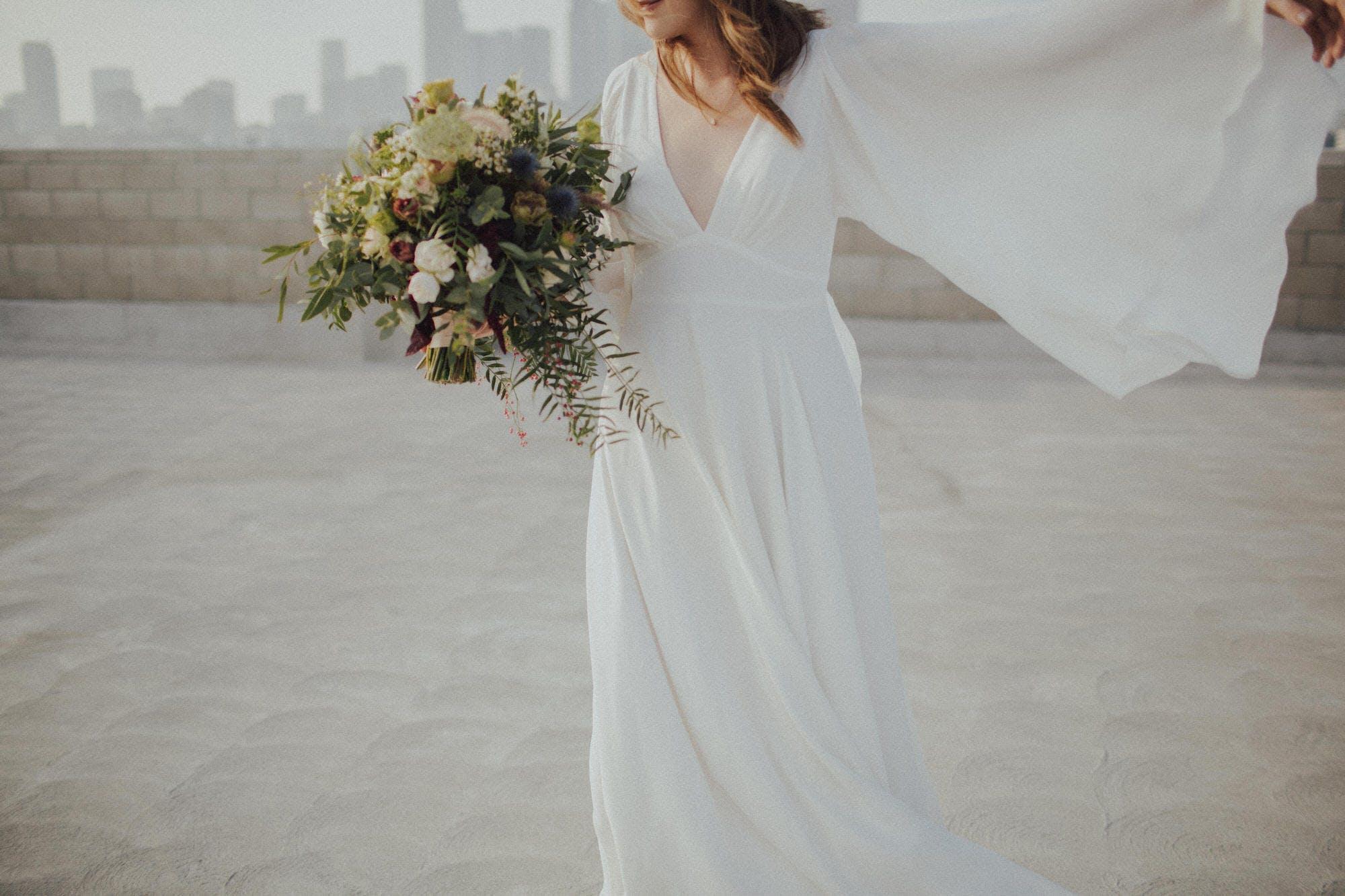 Wedding dress with big sleeves