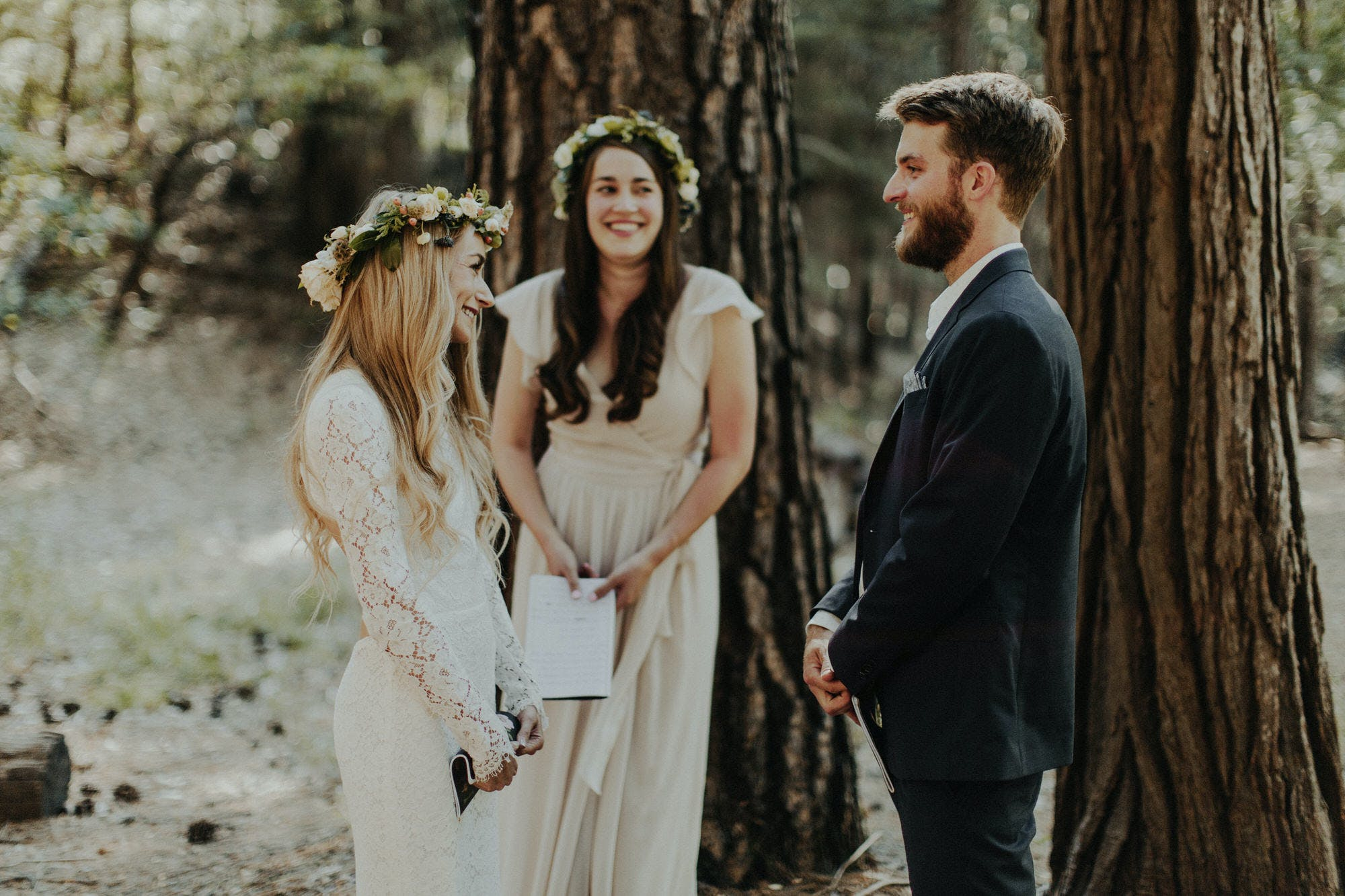 small wedding in the woods