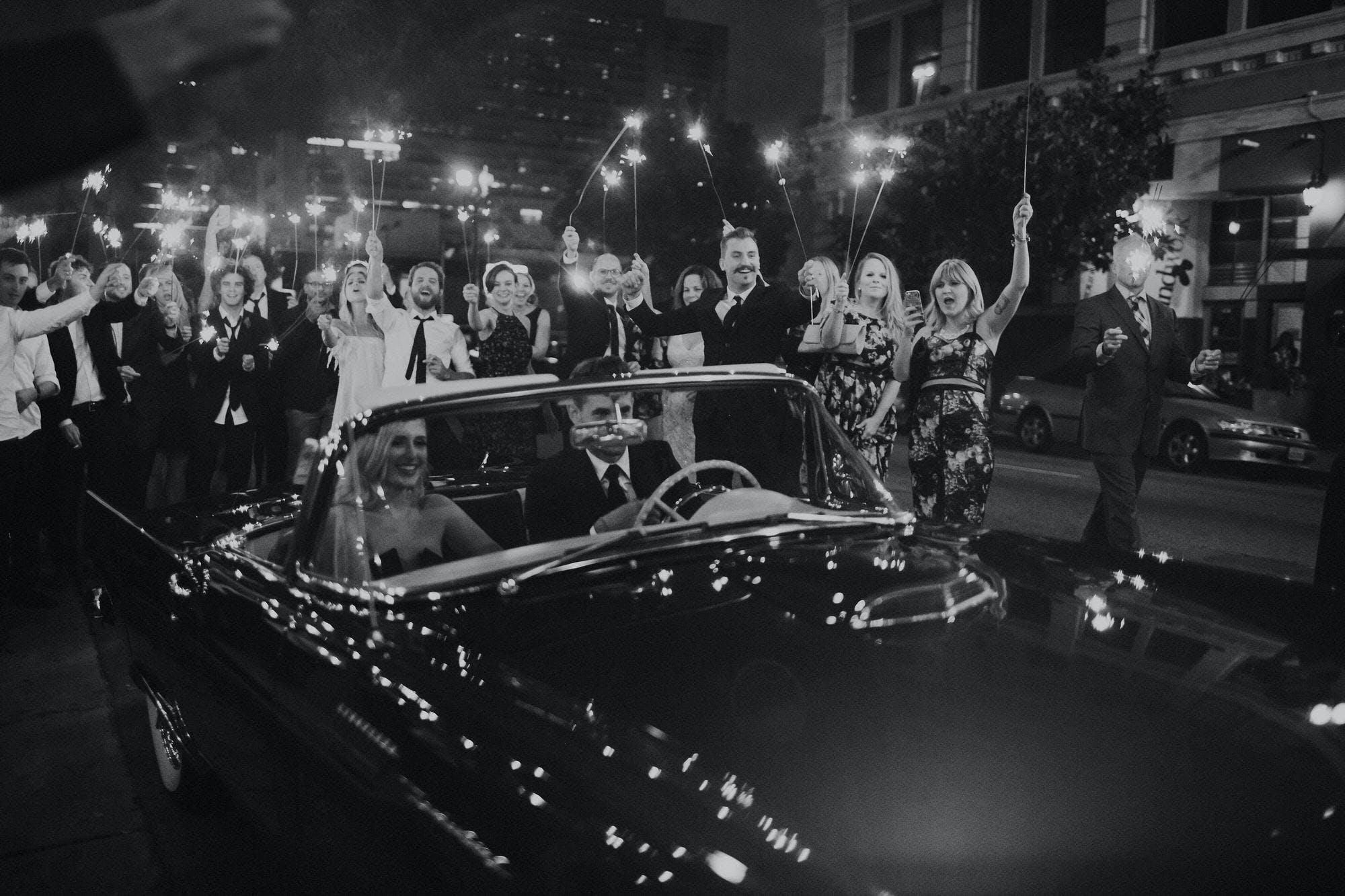 Classic car getaway wedding