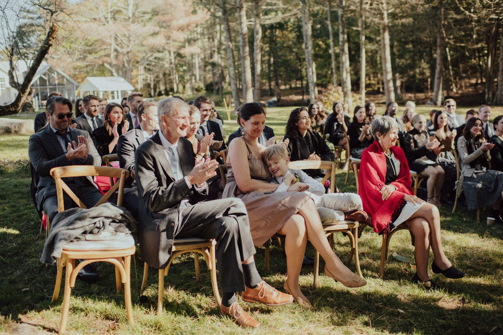 candid shots of guests at ceremony