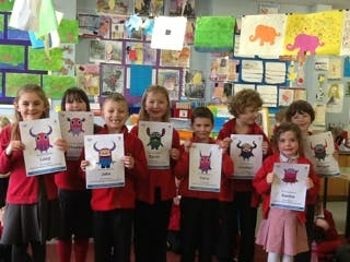 winning children get their Teach Your Monster to Read certificates