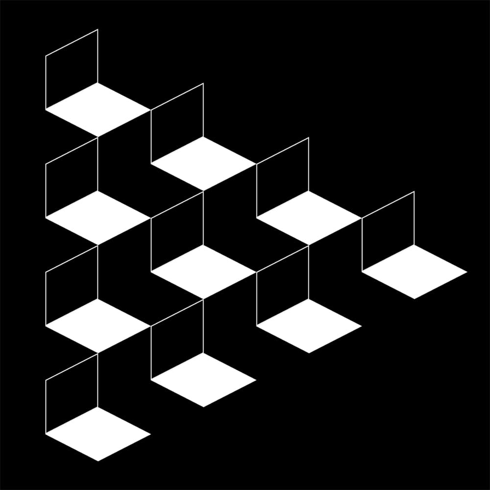 black and white illustration of stacked cubes