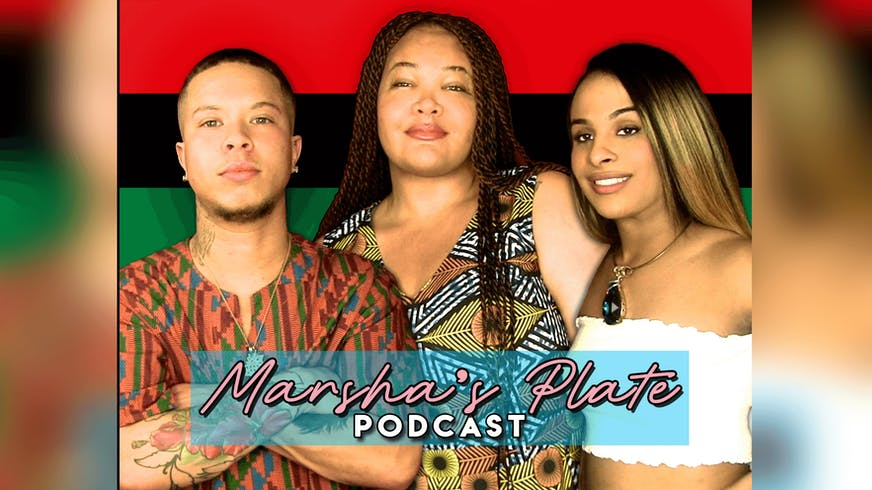 "3 people standing together for the podcast ""Marsha's Plate""."
