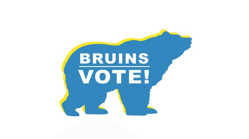 "Bruin Bear with text inside that says ""Bruins vote!""."