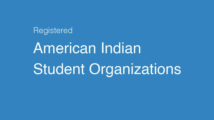 "Text based image that says ""American Indian student organizations""."