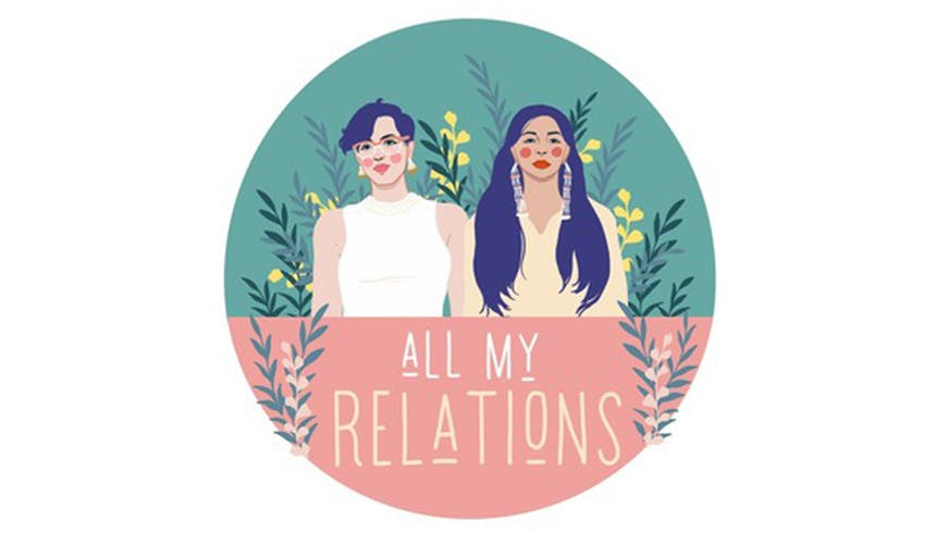 "Logo for the podcast ""All my relations""."