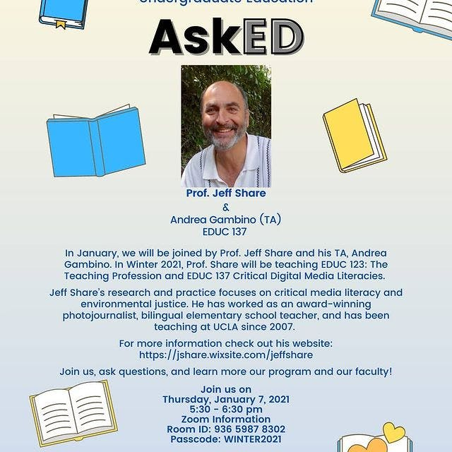 flyer for a discussion with a professor