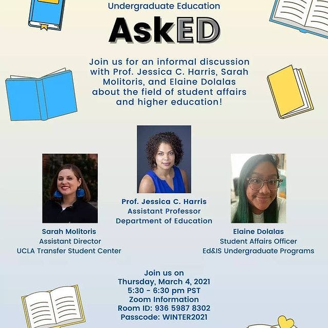 flyer for a discussion with professors