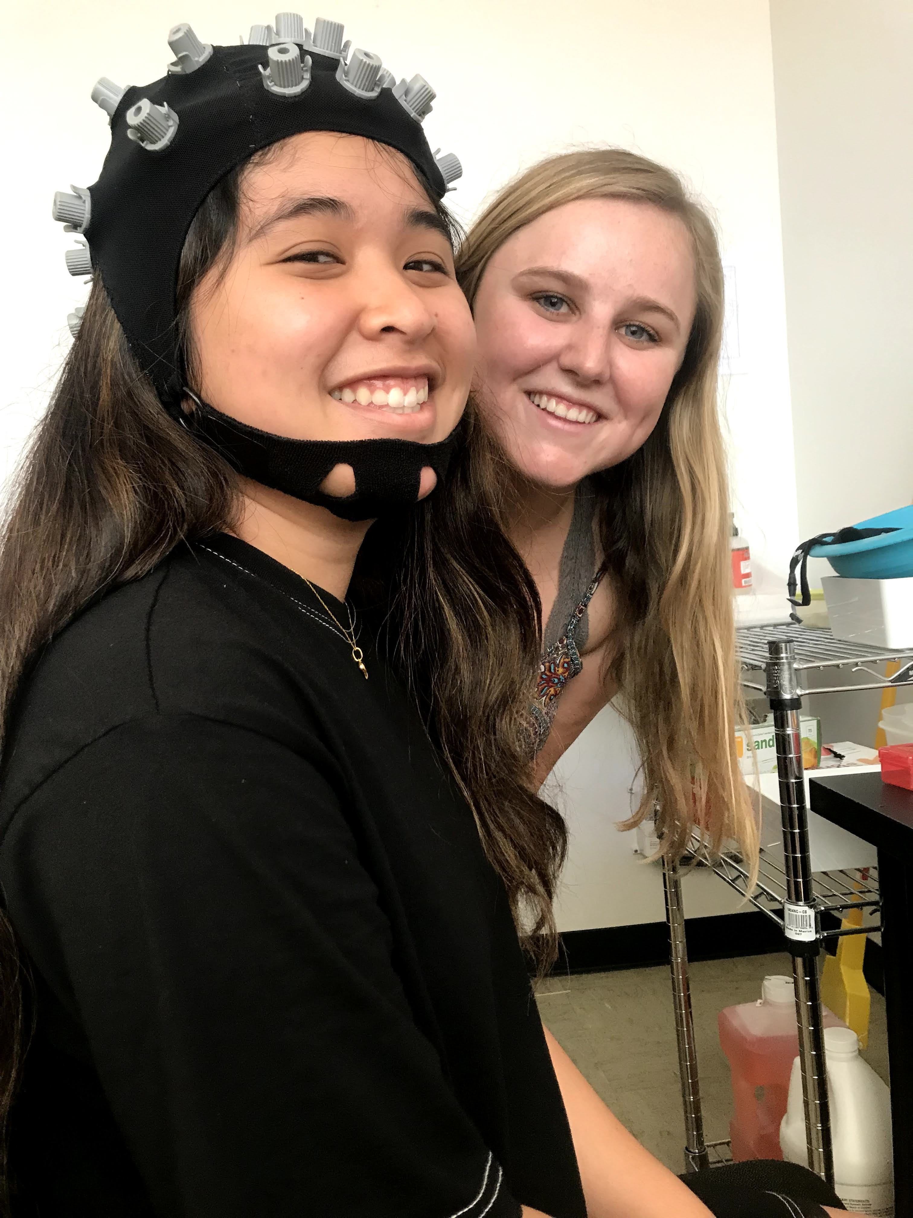 Former UCLA undergrads Annika Daug ('20, B.S., Psychobiology) and Riley Fox ('21, B.A., Psychology) took part in a study on student attention, led by UCLA Associate Professor of Education Jennie Grammer. Courtesy of Jennie Grammer