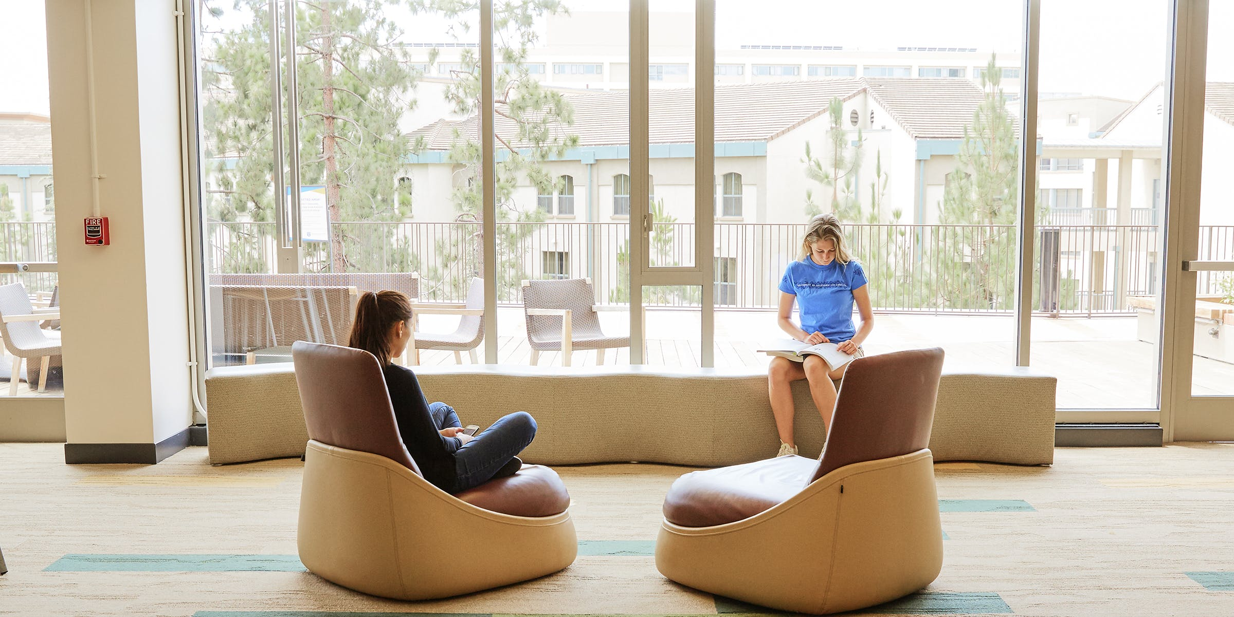 Students in a dorm lounge