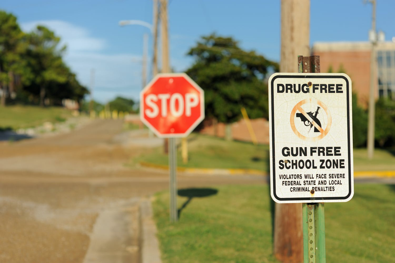 Sign depicting Drug-Free, Gun-Free School Zone