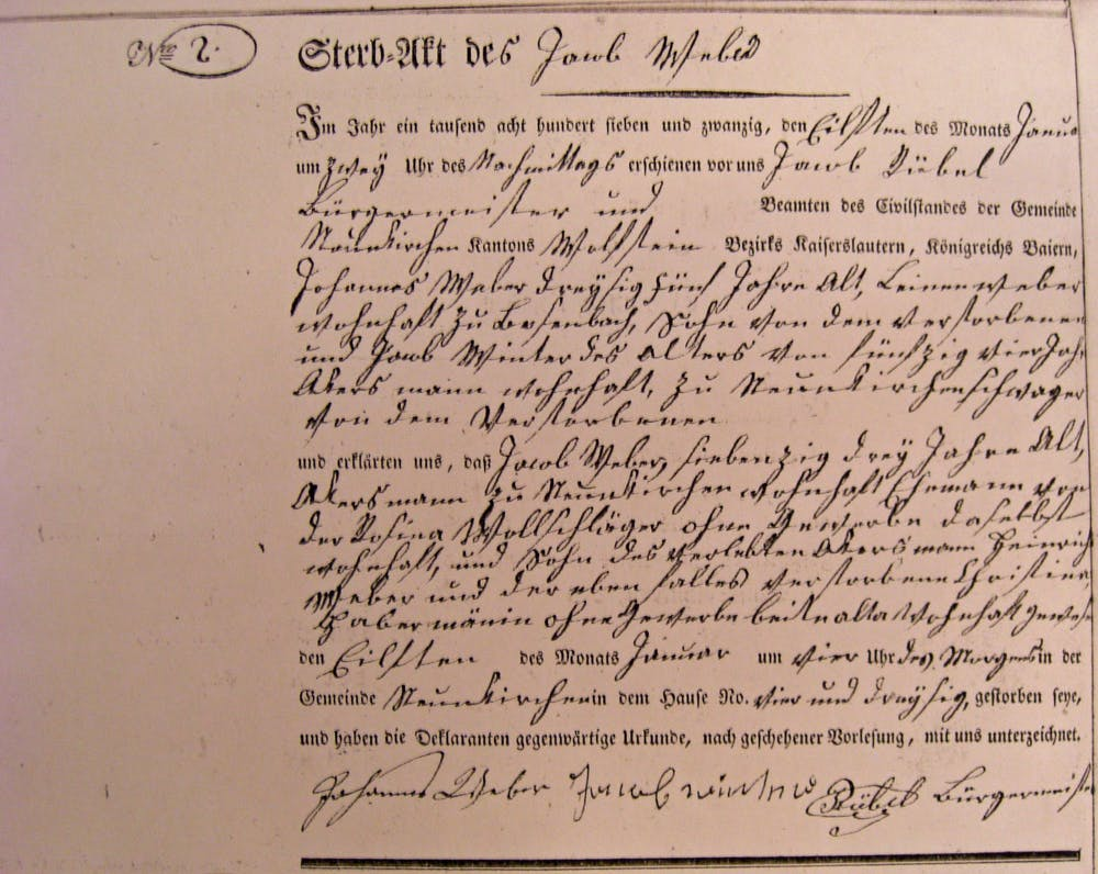 A death certificate for Jacob Weber, who died in Germany in 1827.