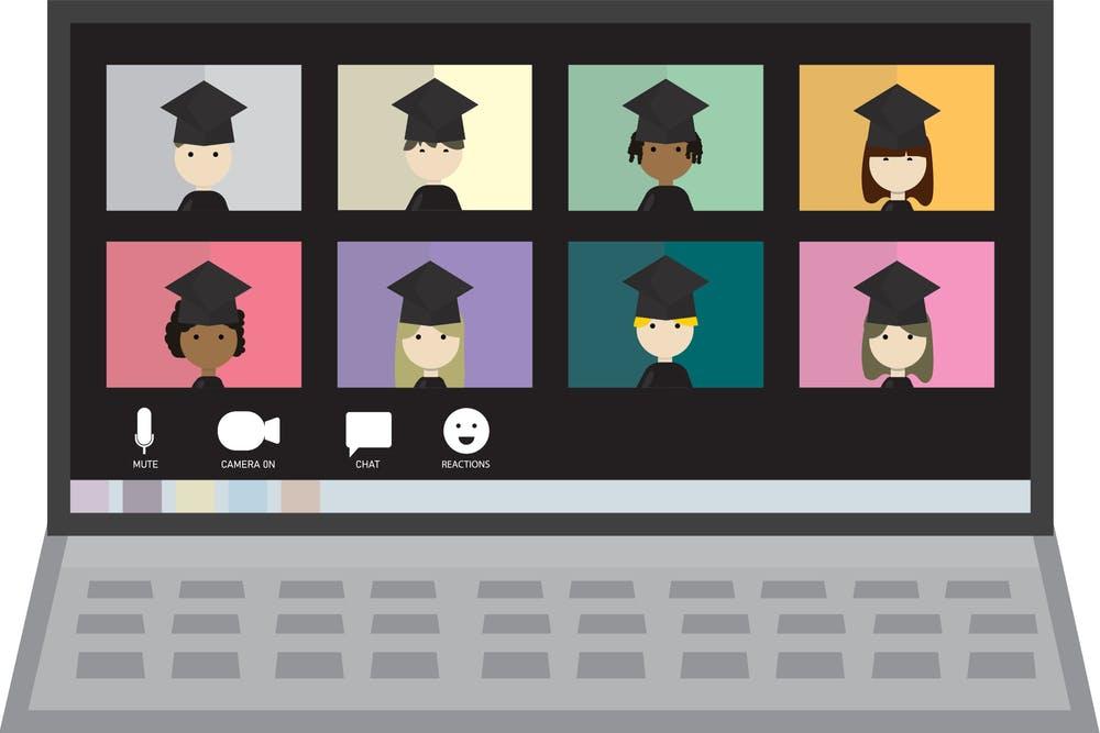 Illustration of virtual school graduation on laptop