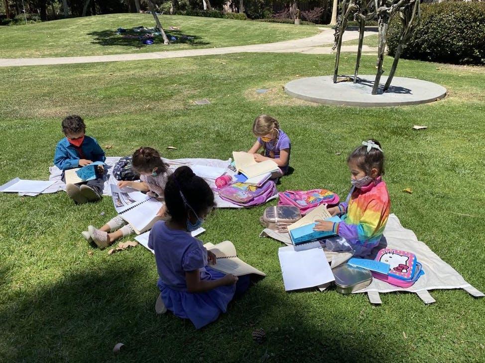 UCLA Lab School students in the University's Sculpture Garden