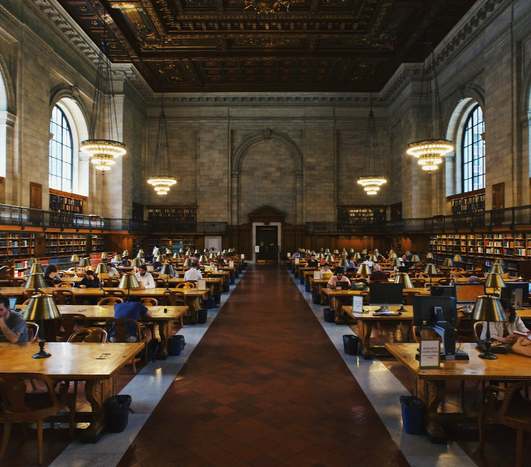inside Powell library at UCLA