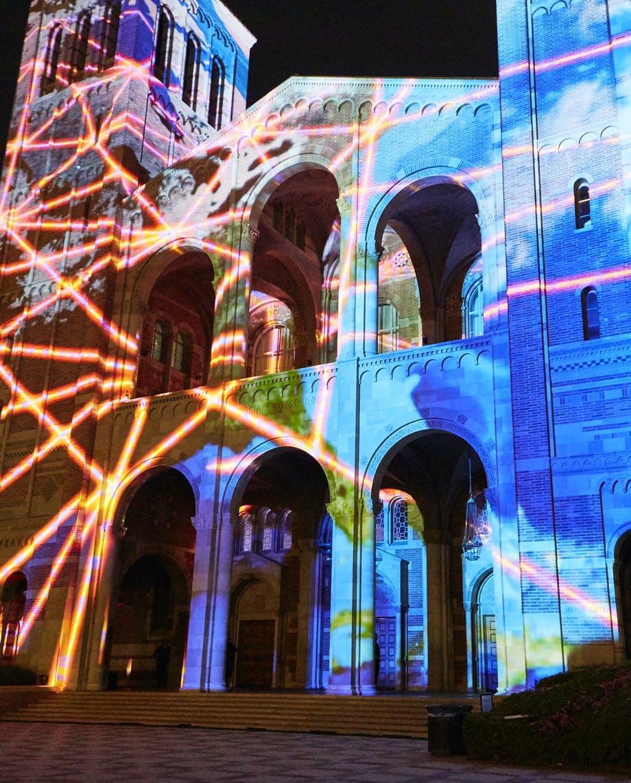 Royce Hall lit up for UCLA's Centennial Celebration