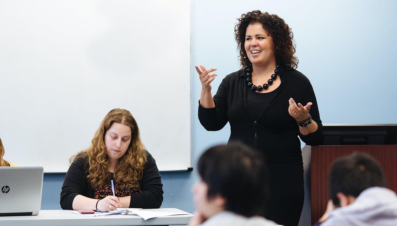 Teacher talking in a classroom