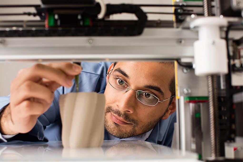 Gaurav N. Sant works in the lab.