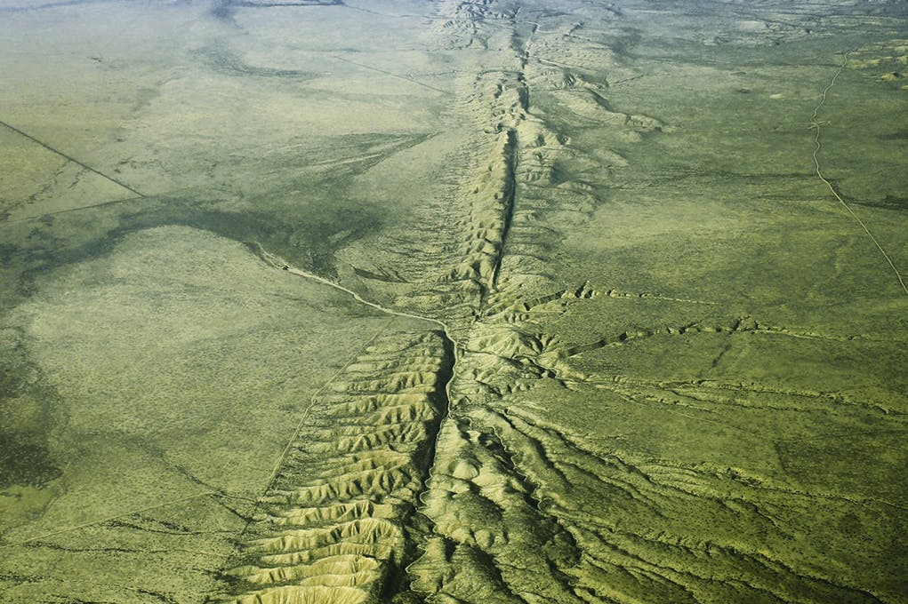 Aerial view of the San Andreas Fault in the Carrizo Plain