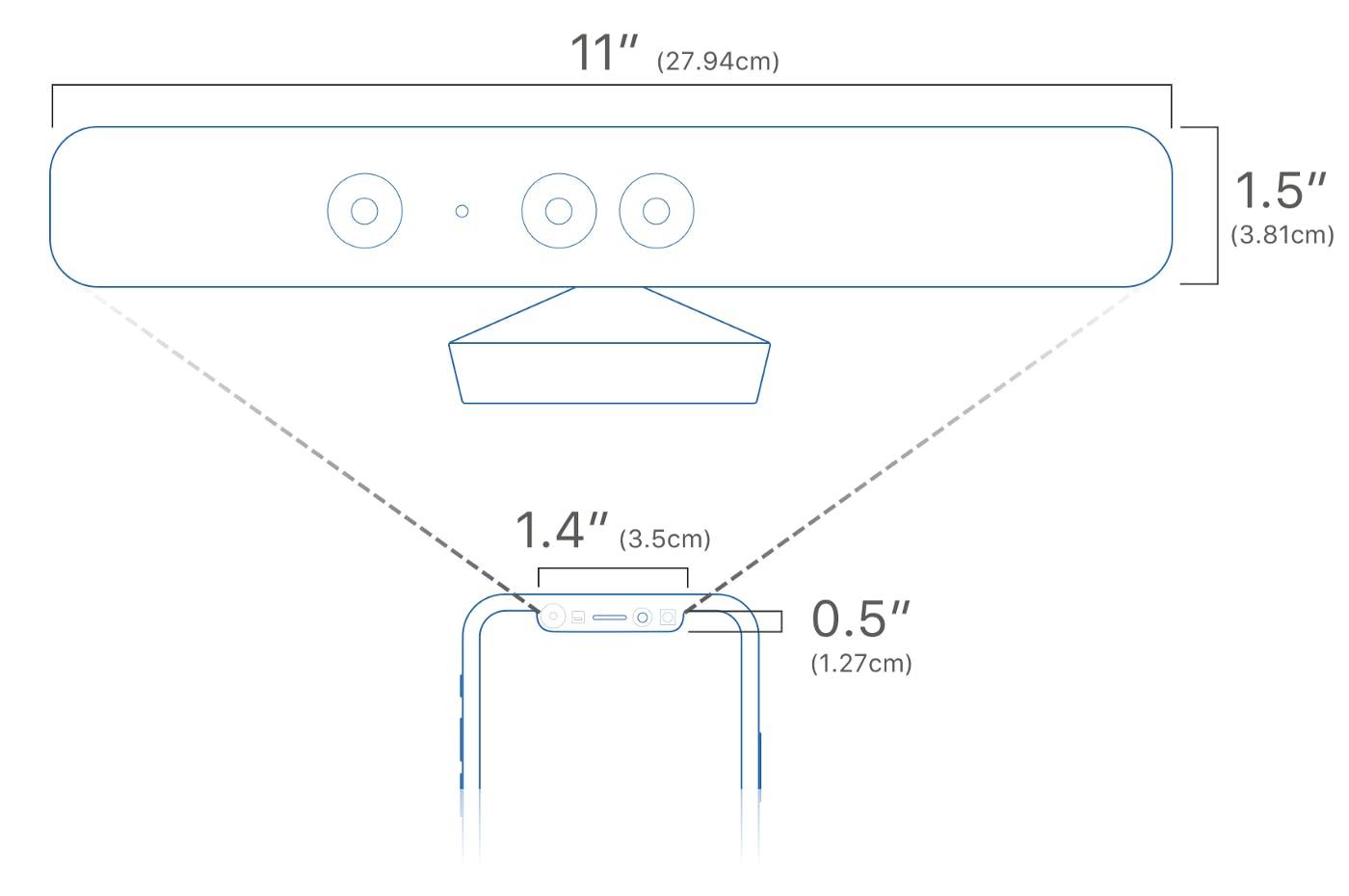 Kinkect vs. iPhone X's notch size comparison (source: uMake)