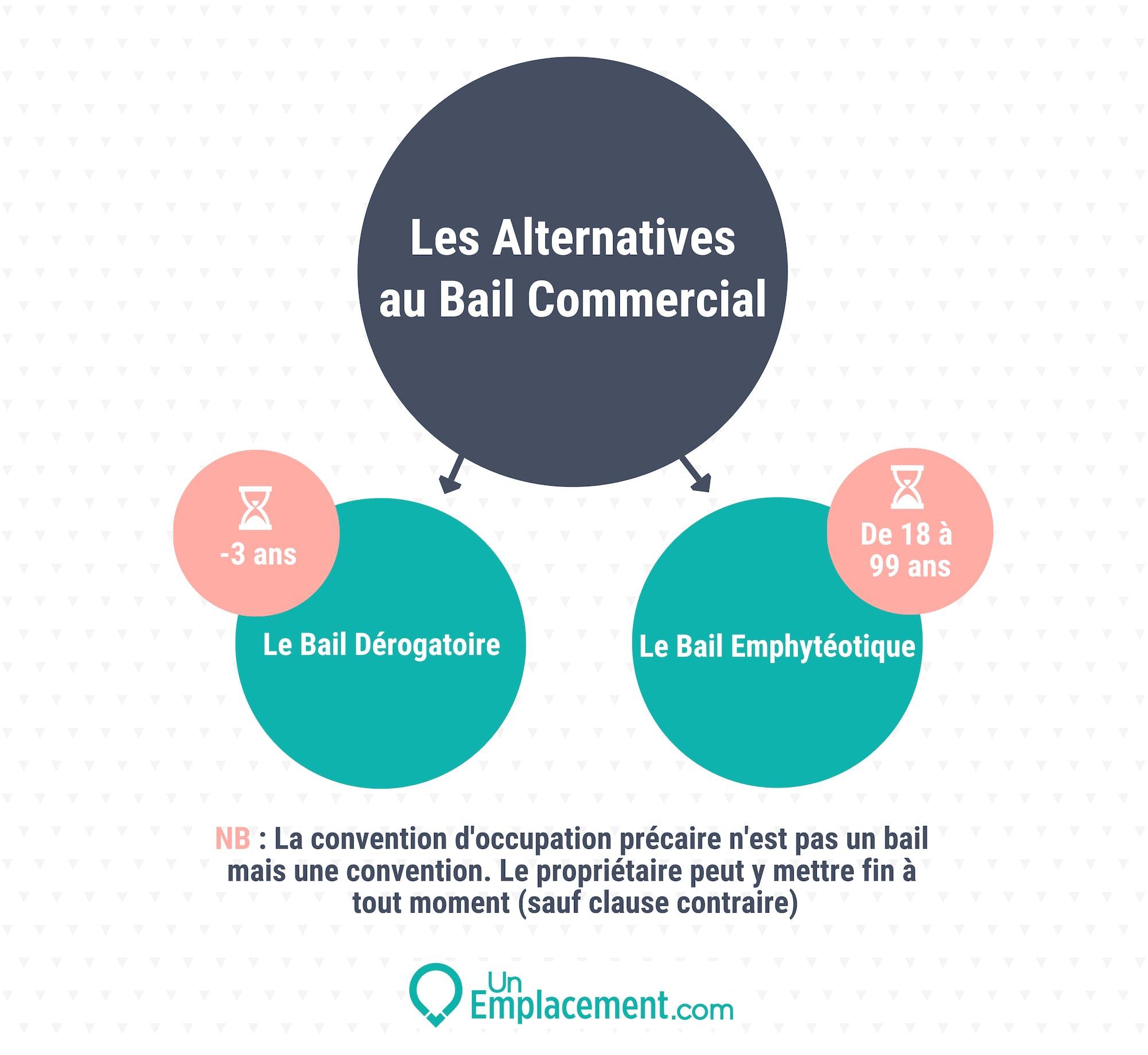 Infographie sur les alternatives au bail commercial