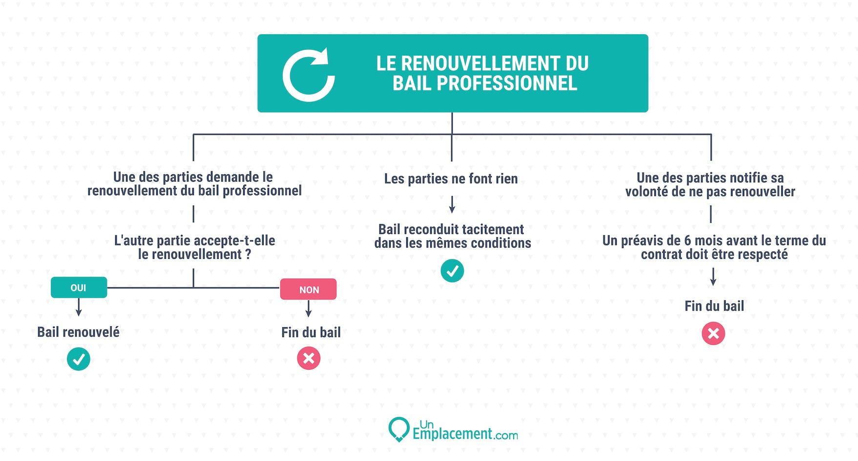 Infographie sur le renouvellement du bail pro