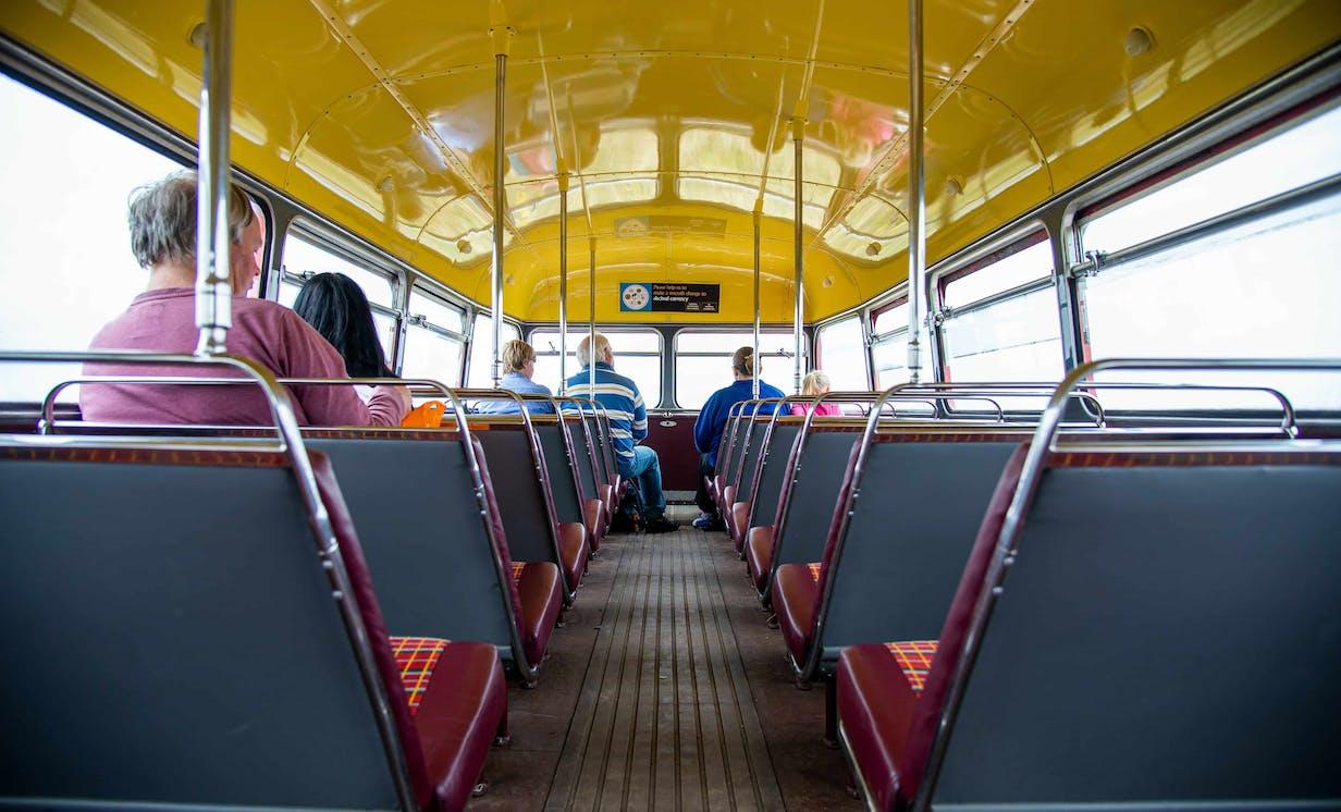 Top deck of bus