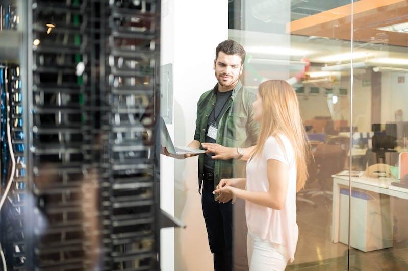 people in server room
