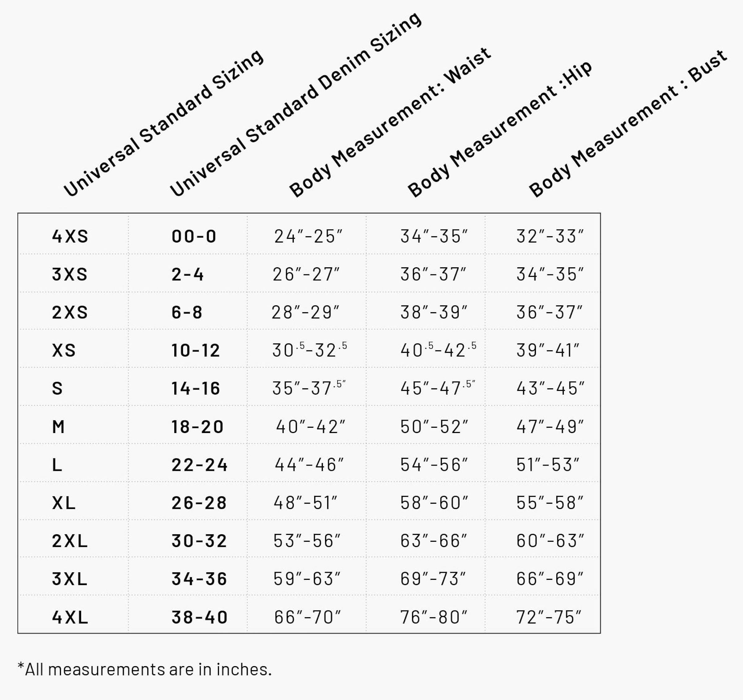 Universal Standard Size Chart