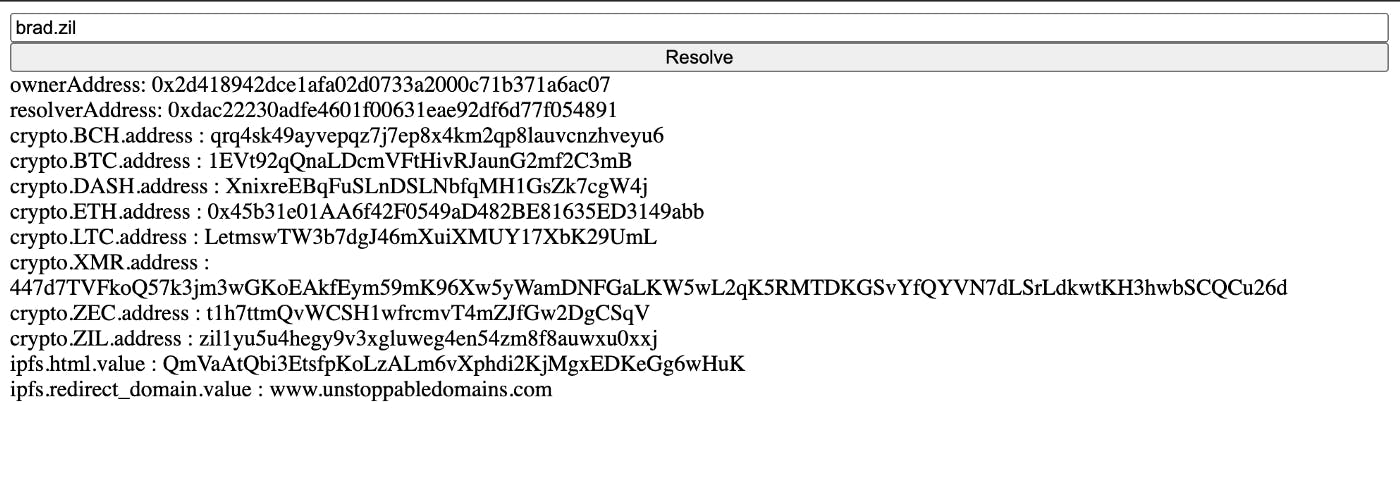 Example of a successful domain resolution