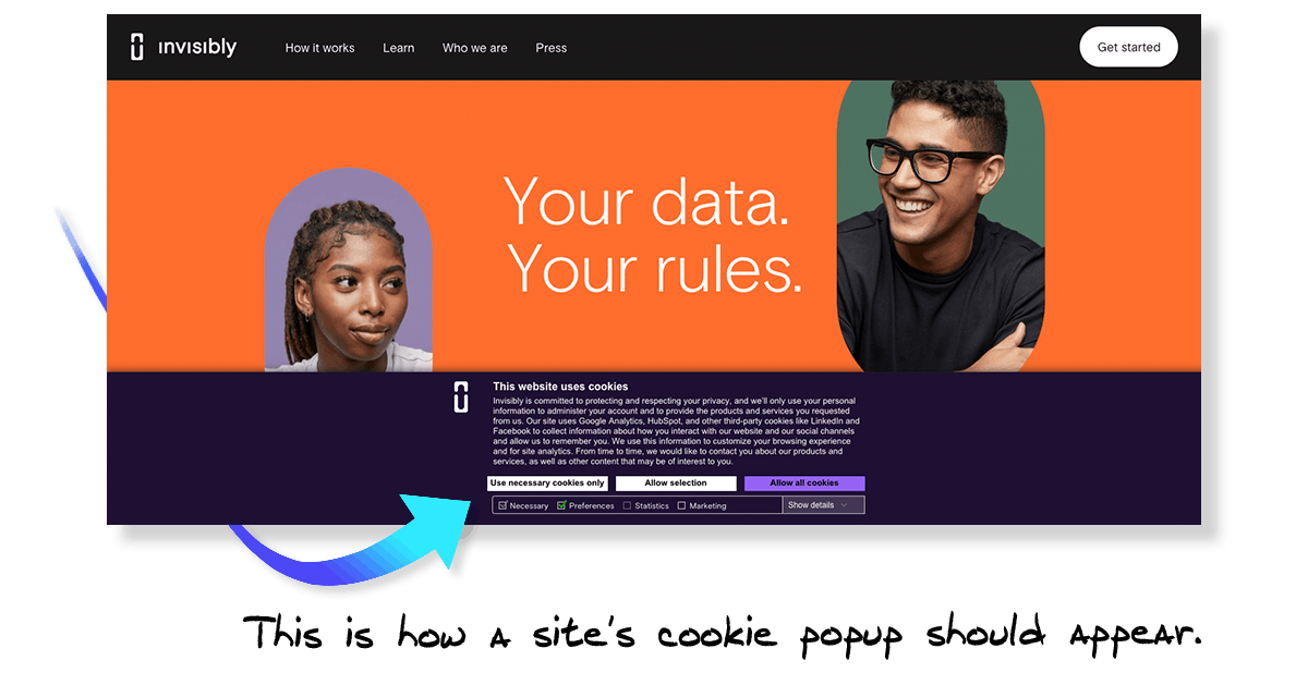 Invisibly Cookie Popup Allowing for Opt Out