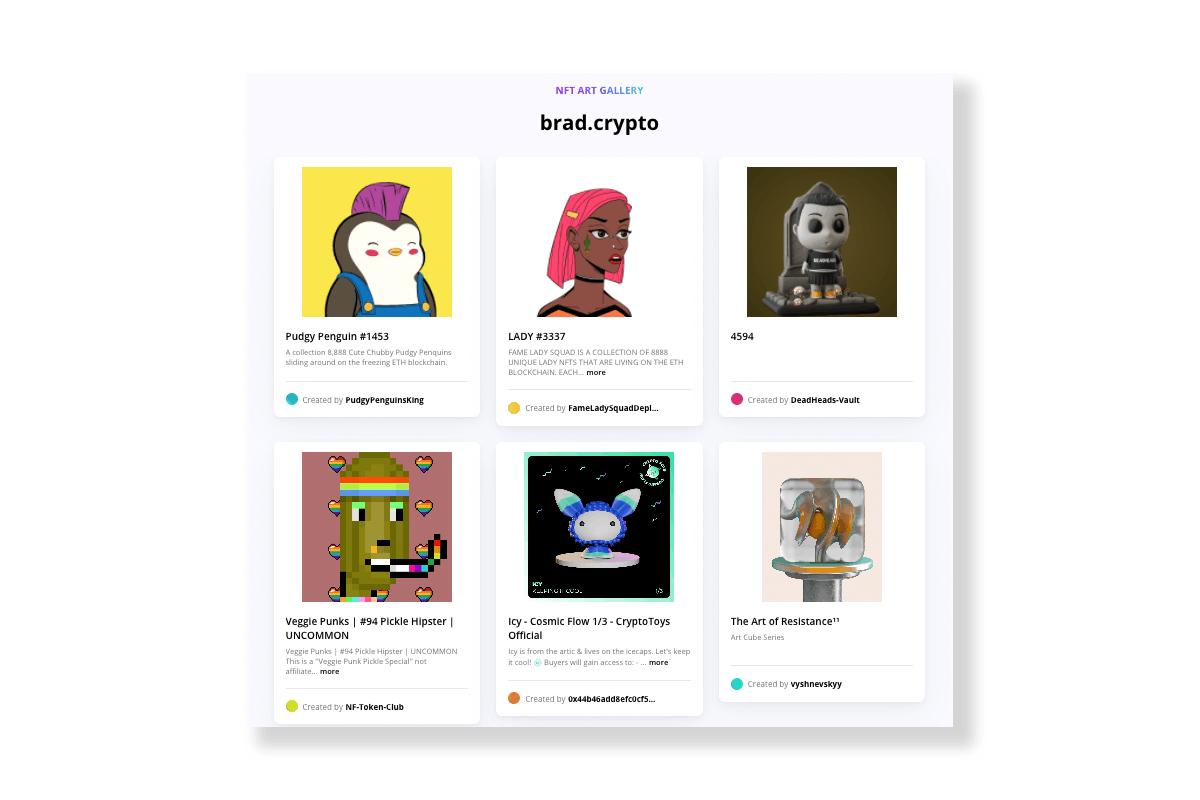 A personal NFT gallery made with an Unstoppable Domain - brad.crypto