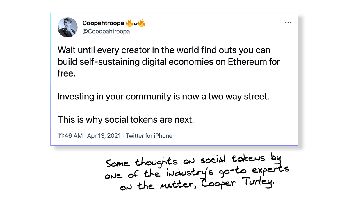 Cooper Turley tweet about social tokens