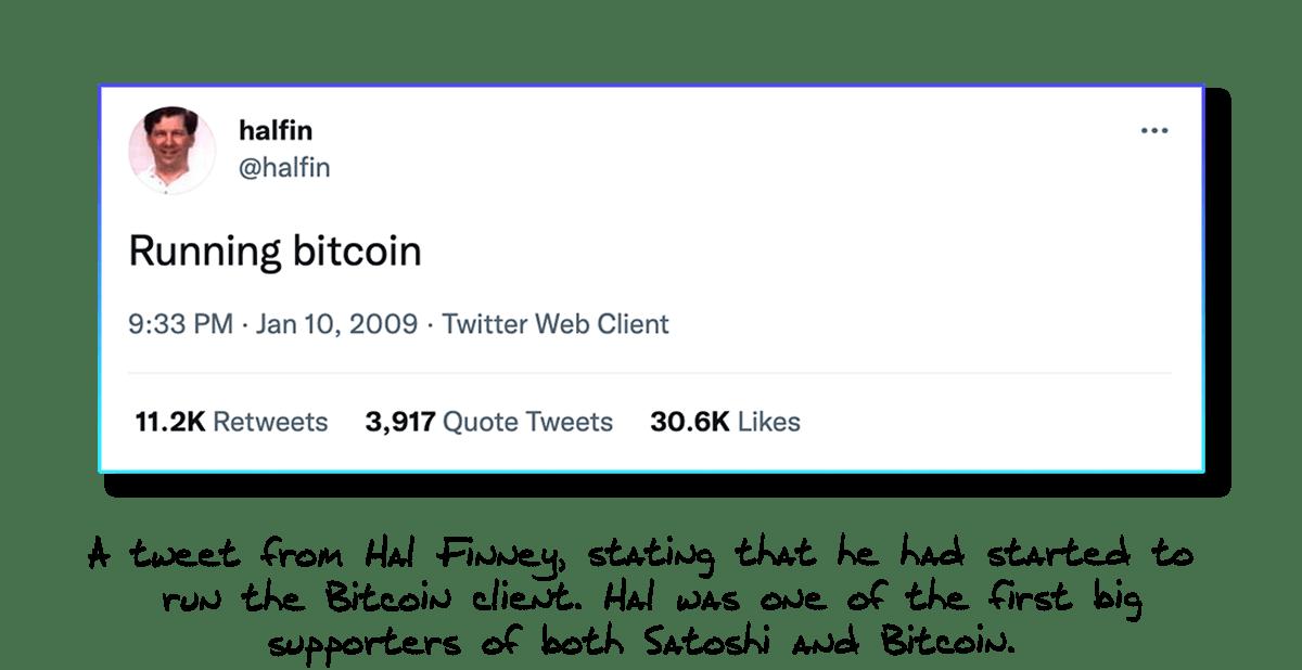 Hal Finney Running Bitcoin Tweet